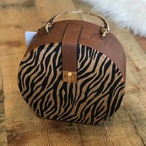 Dune London Round Animal Print Handbag Clam Shell
